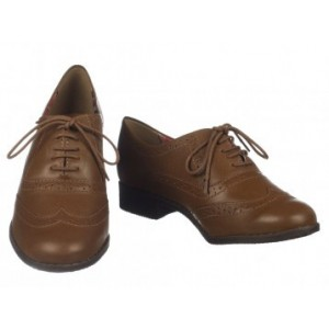 Dark Brown Round Toe Vintage Lace-up Brogues Women's Oxfords