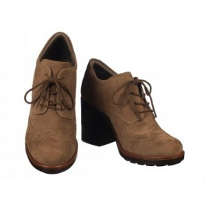 Tan Block Heel Wingtip Shoes Vintage Lace up Heeled Oxfords