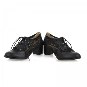 Women's Black Lace Up Vintage Oxfords Chunky Heels Shoes