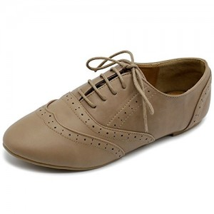 Women's Brown Oxfords Pointed Toe Vintage Lace Up Comfortable Flats