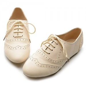 Ivory Wingtip Shoes Lace up Round Toe Flat Oxfords