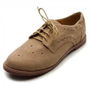 Tan Vintage Shoes Lace up Flats Comfortable Oxfords