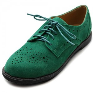 Green Suede Women's Oxfords Lace up Comfortable Flats
