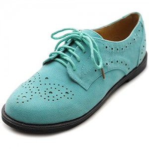 Turquoise Women's Oxfords Comfortable Lace up Vintage Flats