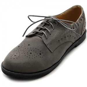 Dark Grey Vintage Shoes Comfortable Flat Lace-up Oxfords