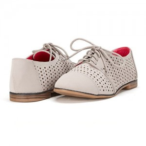 Light Grey Hollow-out Lace-up Vintage Women's Oxfords& Brogues