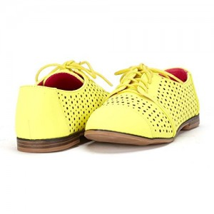 Lemon Yellow Hollow-out Lace-up Vintage Women's Oxfords& Brogues