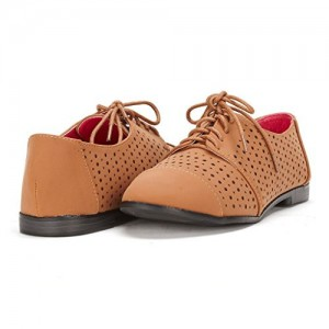 Tan Comfortable Shoes Hollow out Lace up Oxfords