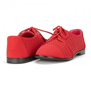 Red Women's Oxfords Hollow-out Lace up Flats Vintage Shoes