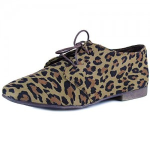 Women's Comfortable Leopard Print Flats Women's Oxfords& Brogues