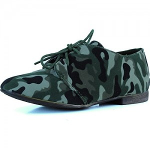 Women's Green Camouflage Oxford Comfortable Flats Shoes