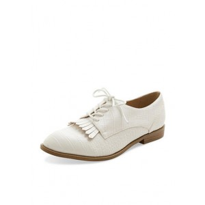 White Fringed Vintage Flats Women's Oxfords&Brogues