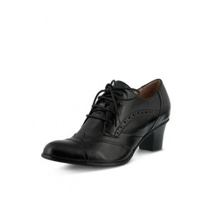 Black Chunky Heel Wingtip Shoes Lace up Heeled Oxfords