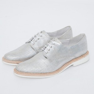 Silver Comfortable Fabric Vintage Flats Women's Brogues