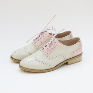 Pink and Ivory Two Tone Wingtip Shoes Lace up Flat Oxfords
