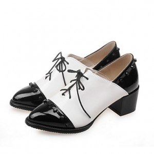 Black And White Vintage Shoes Oxfords Brogues Lace Up Chunky Heels