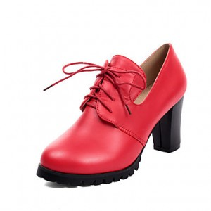 Red Lace up Heels Round Toe Vintage Block Heel Ankle Boots