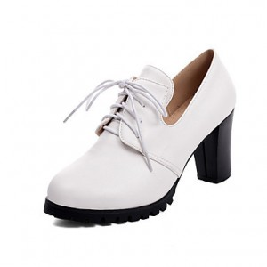 Women's White Lace-up Vintage Heels Women's Brogues Chunky Heel Boots