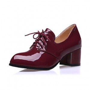 Burgundy Lace-up Vintage Heels Women's Brogues