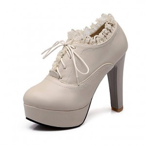 Beige Oxford Heels Lace Platform Chunky Heels Shoes