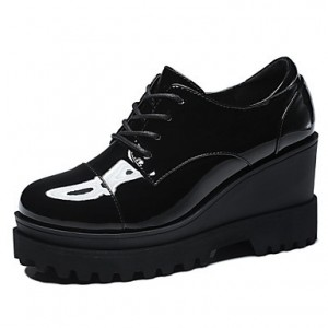 Black Patent Leather Wedge Heel Women's Brogues