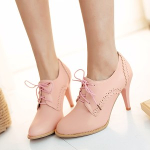 Pink Oxford Heels Lace up Round Toe Vintage Shoes US Size 3-15