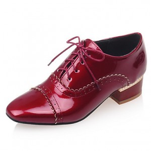 Burgundy Cute Vintage Shoes Women's Brogues