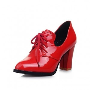 Red Patent Leather Oxford Heels Lace up Chunky Heel Vintage Shoes