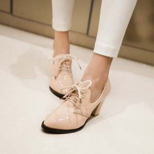 Beige Lace-up Patent Leather Vintage Heels Women's Brogues