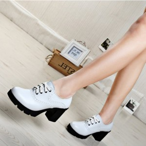 White Vintage Heels Lace up Heeled Oxfords for Women