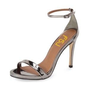 Silver Ankle Strap Sandals Open Toe Patent Leather Stiletto Heels