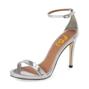 Women's Grey Ankle Strap Open Toe Stiletto Evening Heel Sandals