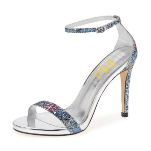 Women's Silver Dazzling Ankle Strap Open Toe Stiletto Evening Heel Sandals