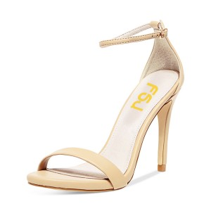 Beige Open Toe Commuting Stiletto Heels Ankle Strap Sandals