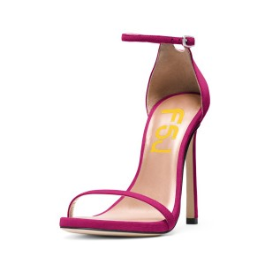 Women's Plum Open Toe Stiletto Evening Heel Ankle Strap Sandals