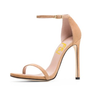 Nude Ankle Strap Sandals Open Toe Stiletto Heel Vegan Office Sandals
