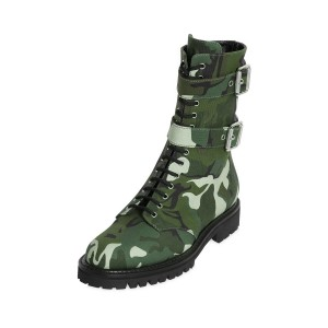 Women's Green Fatigues Buckle Lace up Comfortable Flats Boots