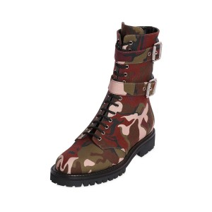 Camouflage Combat Boots Lace up Mid-calf Boots with Buckles