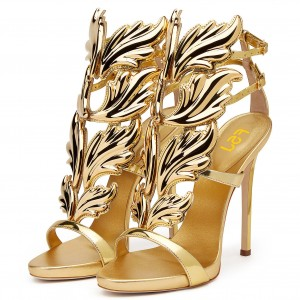 Gold Dress Shoes Open Toe Stiletto Heels Sandals for Big Day