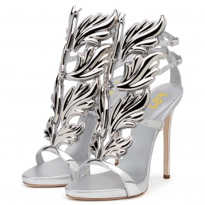 Silver Evening Shoes Dress Shoes Stiletto Heels Mirror Leather Sandals
