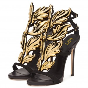 Black and Gold Evening Shoes 5 Inches Stiletto Heels Sandals for Party
