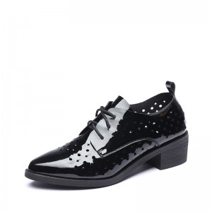Women's Black Patent Leather Pointed Toe Vintage Hollow-Out Lace-up Oxfords