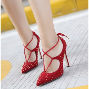 Women's Red Crossed Straps Sequined Upper Stiletto Pumps