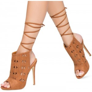 Women's Khaki Slingback Hollow Out Ankle Straps Boots