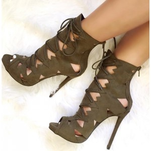 Brown Summer Boots Suede Front Lace up Peep Toe Stiletto High Heels