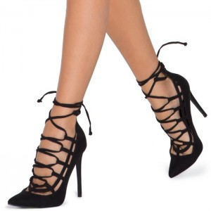Black Vegan Suede Lace up Heels Pointy Toe Stiletto Heel Strappy Pumps