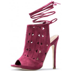 Women's Plum Slingback Hollow Out Strappy Stiletto Heels Pumps
