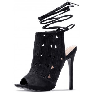 Women's Black Slingback Hollow Out Ankle Straps Stiletto Heels Boots