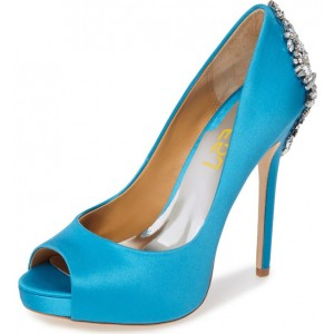 Women's Blue Formal Rhinestone Stiletto Heel Wedding Shoes