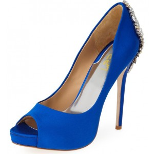 Cobalt Blue Dress Shoes Satin Peep Toe Pumps Rhinestone Wedding Shoes